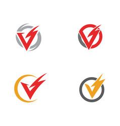 V letter lightning logo template vector