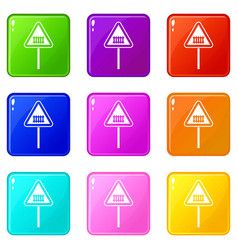 Warning road sign set 9 vector