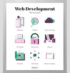 web devolopment icons flat pack vector image
