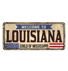 welcome to louisiana vintage rusty metal sign vector image