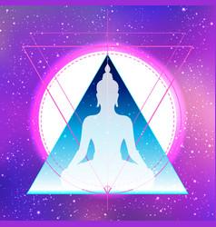 yoga silhouette over colorful neon vibrant vector image
