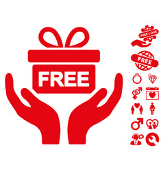 Give present icon with dating bonus vector