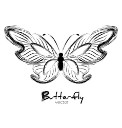 Grunge butterfly painted with ink vector image vector image