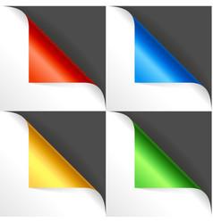 realistic detailed 3d color curved corner set vector image