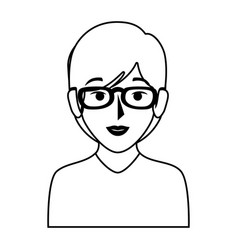 silhouette of half body woman with short hair and vector image vector image