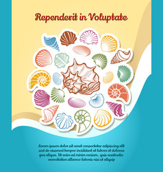 Summer travel poster with sketch seashells vector image vector image