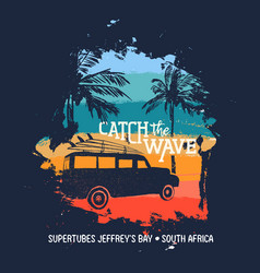 surf summer holiday in south africa beach with car vector image