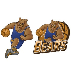 bear cartoon basketball mascot vector image