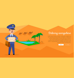 delivery everywhere web banner with postman vector image vector image