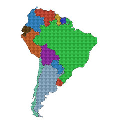 dotted line political map of south america vector image