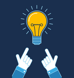 Hands pointing on lit bulb new idea business vector
