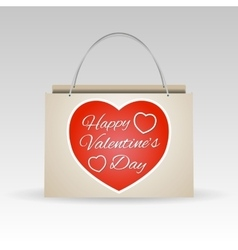 Valentines day red paper shopping bag vector image vector image