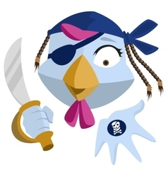 Bird pirate with saber shows black mark blue vector