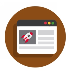 Circle flat icon browser vector image
