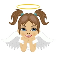 little angel girl dreaming over white background vector image