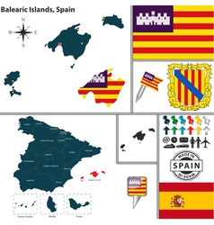 Map of Balearic Islands vector image vector image
