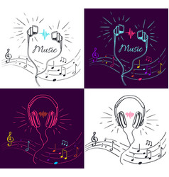 music visualization with headphones and notes vector image vector image