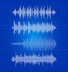 white music waves collection - musical pulse on vector image