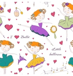 ballerina and accessories seamless pattern vector image