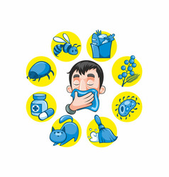 cartoon colorful allergy collection vector image vector image
