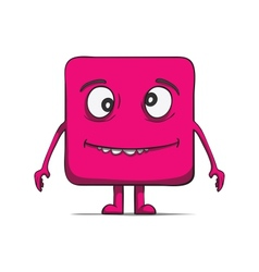 Funny stupid cube dude Square character vector image vector image