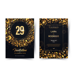 29th years birthday black paper luxury vector image