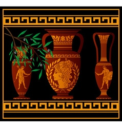 Ancient amphora and jugs vector