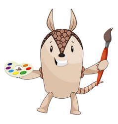 armadillo with paint brush on white background vector image