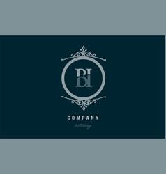Bi b i blue decorative monogram alphabet letter vector