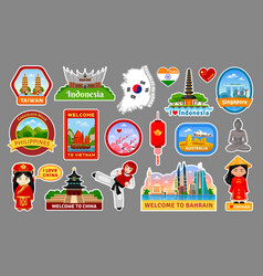 Big collection of travel stickers symbols vector
