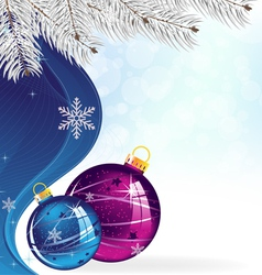 Blue and purple Christmas tree balls vector