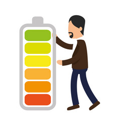 Business people with battery level training icon vector