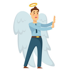 Businessman angel with wings and halo stopping vector