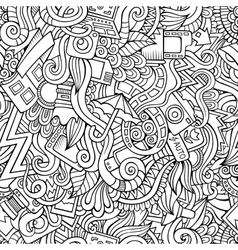 Cartoon hand-drawn doodles of photography vector
