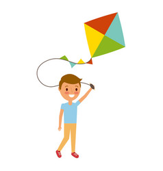 child holding kite playing cheerful vector image