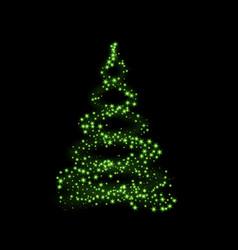 christmas tree card background green christmas vector image