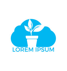 cloud and flower pot and plant logo vector image