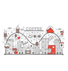 coffee concept flat line art vector image