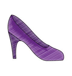 Color pencil drawing of high heel purple shoe vector