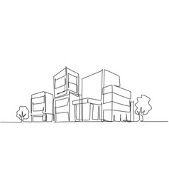 Continuous one line drawing luxury apartment vector