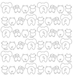 Cute animals showing their tails and back- funny vector