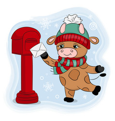cute cartoon bull a winter hat sends a letter set vector image