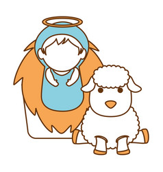 Cute jesus baby in cradle with sheeps vector