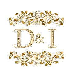 D and i vintage initials logo symbol the letters vector
