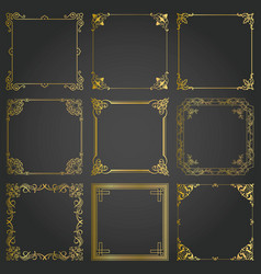 Decorative gold frames and borders square set vector