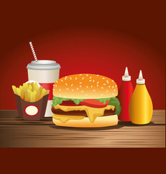 Delicious hamburger and fast food icons vector