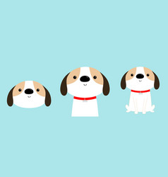 Dog face body sitting puppy icon set red collar vector