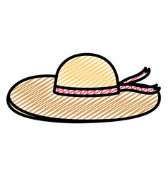 doodle fashion hat female style with ribbon vector image