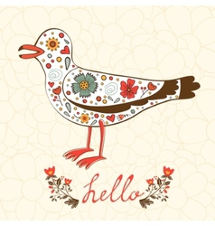 Elegant hello card with flying seagull vector image