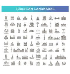 European landmarks and travel destinations vector